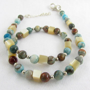 Shell and Turquoise Anklet, Stone and Shell Anklet, Mother of Pearl Anklet, Turquoise Agate and Shell