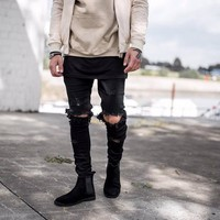 Slim Jeans Ripped Holes Skinny Pants [10368009987]