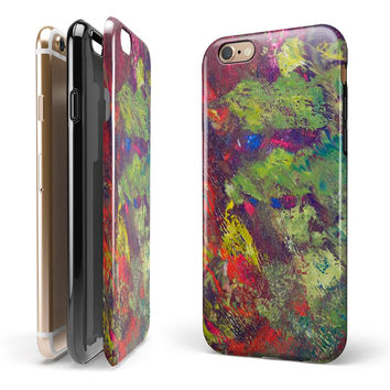 Green and Red Wet Oil Paint Canvas iPhone 6/6s or 6/6s Plus 2-Piece Hybrid INK-Fuzed Case