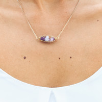 Trapped Purple Crystals Necklace in Gold