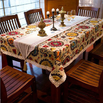Ethnic style quality cotton &linen lacework dining tablecloth multi functional table cloth for party picnic outdoor use WXT444