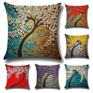 Meijuner Cushion Cover Vintage Flower Square linen cotton Cushions Pillow Case Decorative Pillows cover for Sofa Home Office