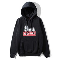 Supreme New fashion bust letter dog print thick keep warm couple hooded long sleeve sweater Black