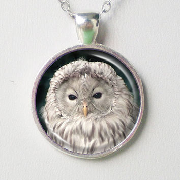 Owl Necklace- An White Owl Portrait- Animal Series