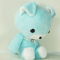 Cute Bellzi Stuffed Animal Teal w/ White Contrast Dog Plushie Doll - Doggi