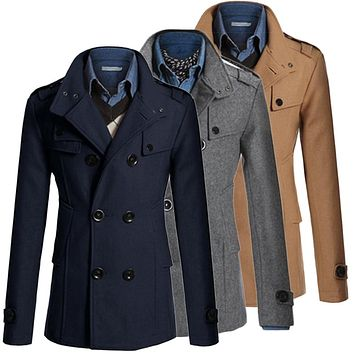 Trench Coat Men Classic Men's Double Breasted Masculino Trench Clothes Long Jackets Coats