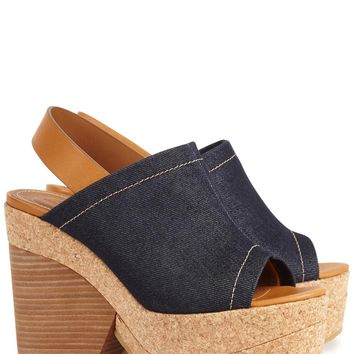 See by Chloé Dark blue denim wedge sandals