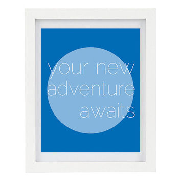 Your New Adventure Awaits, Inspirational Quote, Travel Art, Gift for Traveller, Inspiring Typography Print, Modern Home Decor, Blue, 8 x 10