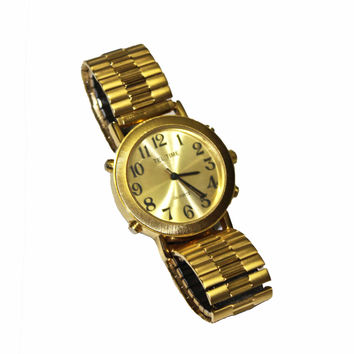 Vintage Tel Time Gold M9908 Quartz Watch