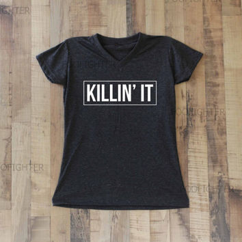 Killin It Shirt T Shirt Top V Neck Women  – Size S