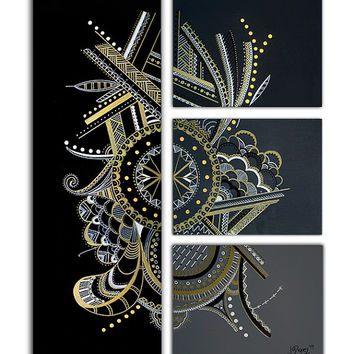 "Made to order. Original abstract painting. 4 piece canvas art. 36x27"" Large painting. Black painting by Jo Diquez with gold and white."