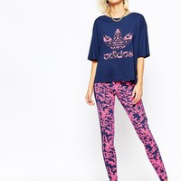adidas Oversized Cropped T-Shirt With Baroque Ornament Trefoil Print