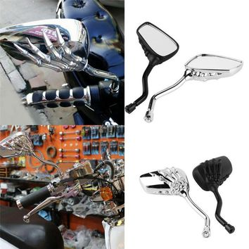 Skull Skulls Halloween Fall 2X Universal Motorcycle Chrome SKELETON  HAND Claw Side Rear View Mirrors 8mm to 10mm 2018 Calavera