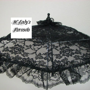 VICTORIAN PARASOL Umbrella in Beautiful Black , White or Ivory Lace with Lace Ruffles Wedding Civil War Sun Shade Steampunk Mourning Funeral