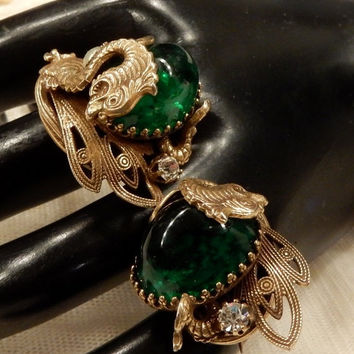 Thanksgiving sale Beautiful Vintage Emerald Green Cabochon, Faux Pearl and Rhinestone Brass Tone Dragon Scatter Pins