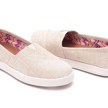 NATURAL METALLIC LINEN WOMEN'S AVALON SLIP-ONS