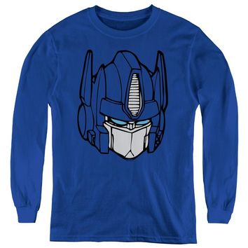 Transformers Kids Long Sleeve Shirt Optimus Prime Face Royal Tee
