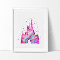 Cinderella Castle 2 Watercolor Art Print