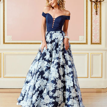 A Line OfftheShoulder Navy Blue Long Prom Dress 2019 Evening Dress A6325
