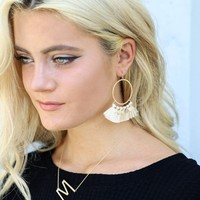 Sight Unseen Tassel Gold Coin Hoop Earrings