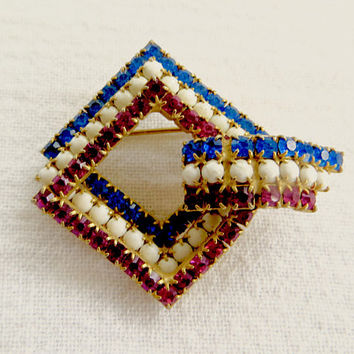 Vintage Patriotic Brooch Red White and Blue Rhinestone Pin Triple Layered Diamond Shaped July 4th Jewelry