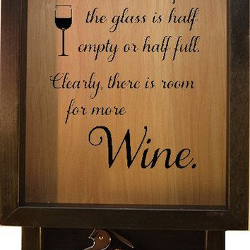 "Wooden Shadow Box Wine Cork Holder with Corkscrew 9""x15"" - It Doesn't Matter If The Glass Is"