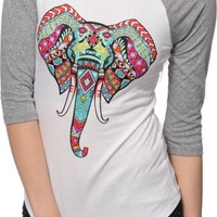 Empyre Underwood Tribal Elephant Baseball Tee