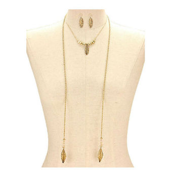 Gold Feather Glass Beaded Drop Chain Long Necklace & Earring Set