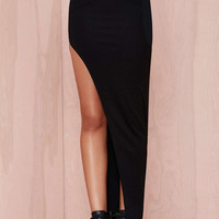 Black Maxi Skirt with High Slit and Exposed Silver Zip