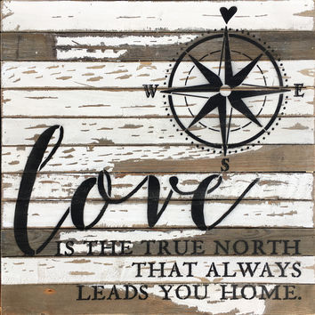 Love Is The True North That Always Leads You Home - Wood Wall Decor 24-in