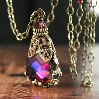 Red Pink Purple Necklace Swarovski Crystal Pendant Necklace Antique Gold Brass Victorian Filigree Necklace