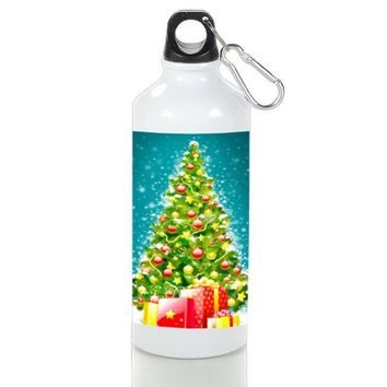 Gift Sport Bottles | Green Tree Christmas Aluminum Sport Bottles