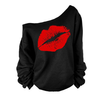 Hot Sale Long Sleeve One-shoulder Sexy Lip Print Tee = 4855261828