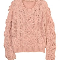 Retro Scoop Neckline Twist Cable- Knit Sweater