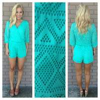 Diamond Mesh Romper - MINT