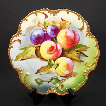 "Antique Royal Munich Cabinet Plate - Hand-painted Plums and Peaches - 9-1/2"" Wide - Gold Trim - Marseille ZS&Co Bavaria China - Gift for Her"