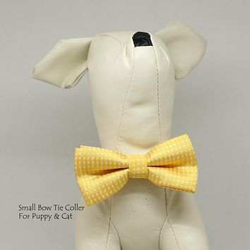 Lemon Chrome Polka dots  bow, Small bow tie collar, Puppy Collar, Cat collar, Cat bow tie collar
