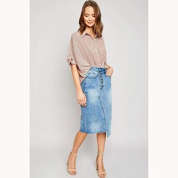 Undecided Asymmetrical Denim Midi Skirt