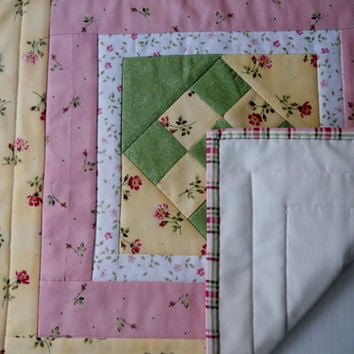 Cottage Chic Pastel Quilted Topper Table Runner Green, Yellow, Rose