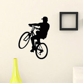 WALL DECAL VINYL STICKER SPORT BOY CYCLING BICYCLE DECOR SB635