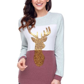 Chicloth Red White Grey Colorblock Gold Reindeer Top