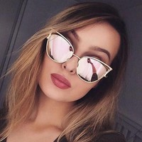 Fashion Cat Eye Sunglasses Women Retro Cat Eyes Metal Driving Gold Sun Glasses Brand Designer UV400 oculos de sol feminino F050