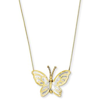 14k Yellow Gold & Rhodium Butterfly Necklace