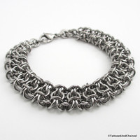 Stainless steel chainmaille bracelet, gridlock Byzantine weave, jewelry for men or women