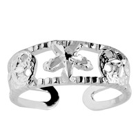 Sterling Silver Rhodium Plated Sand Dollar And Starfish Cuff Style Adjustable Toe Ring