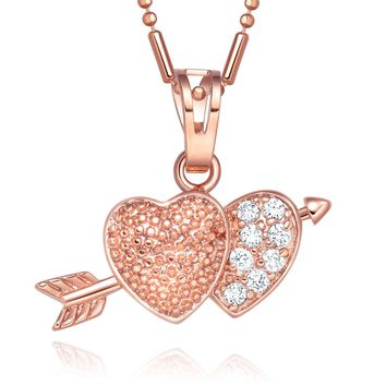 Small Cute Double Lucky United Hearts Love Arrowhead Symbol Gold-Tone Crystals 18 Inch Necklace