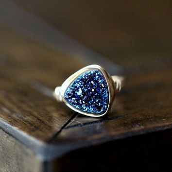 Druzy Triangle Ring - Cobalt