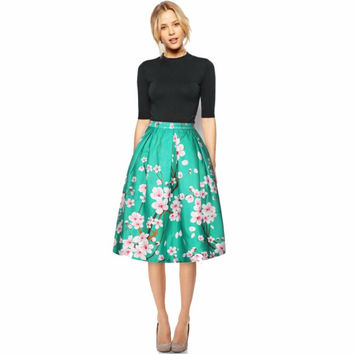 High Waist Floral Print Pleated  Midi Skirt