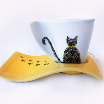 Cat Cup with Saucer, Hand Painted Porcelain, Coffee Cup, Espresso Cup, Yellow