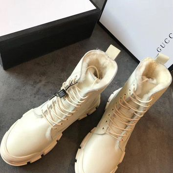 Gucci Leather High-top Sneaker With Wool #1490